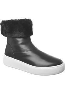 Ankle Boot Com Pelo No Cano E Solado Branco