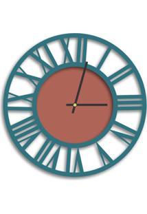 Relógio De Parede Decorativo Premium Vazado Números Romanos Ágata Com Detalhe Cobre Metálico Médio