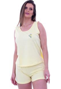 Pijama Algodão Mechler Short Doll Amarelo