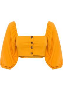 Blusa Feminina Cropped Botões - Amarelo