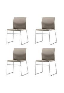 Kit 4 Cadeiras Connect Assento Bege Base Fixa Cromada - 57590 Bege