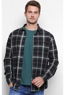 Camisa Xadrez Reserva Manga Longa Masculina - Masculino-Verde Escuro
