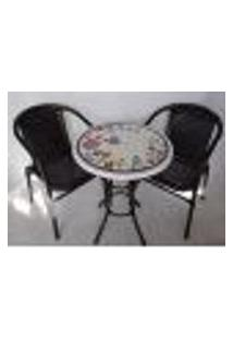 Conjunto De Mesa Mosaico Florido Com 2 Cadeiras 60 Cm