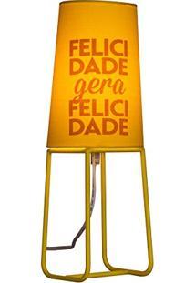 Abajur Mensagem Color - Amarelo Felicidade Gera Felicidade