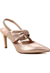Scarpin Couro Shoestock Salto Alto Soft Camurça Metalizado - Feminino-Rosa