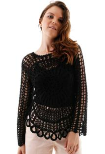 Blusa Aha Crochet Rendado Margarida Preto