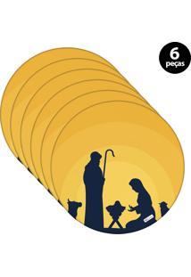 Capa Para Sousplat Mdecore Natal Jesus Amarelo 6Pçs