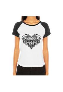 Camiseta Raglan Criativa Urbana Coração Tribal Desenho Tattoo