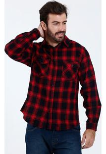 Camisa Masculina Estampa Xadrez Flanelada Marisa