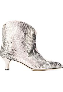 Paris Texas Snakeskin-Effect Ankle Boots - Rosa