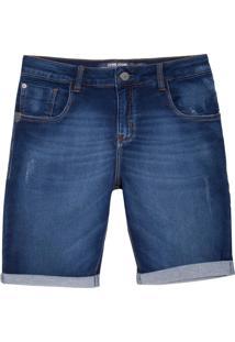 Bermuda John John Classica Obera Moletom Jeans Azul Masculina (Jeans Medio, 48)