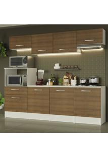 Cozinha Completa Madesa Onix 240001 Com Armário E Balcão - Branco/Rustic Branco