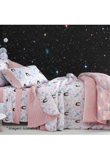 Edredom Princesas Solteiro- Branco & Rosa Claro- 180Sultan