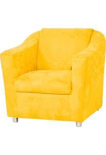 Poltrona Decorativa Tilla Pés Cromado Suede Amarela - Ds Móveis - Kanui
