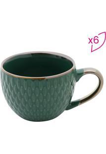 Jogo De Xícaras Para Café Em Porcelana- Verde Escurorojemac