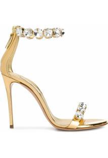 Casadei Sandália Com Aplicação De Cristais - Dourado