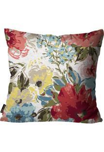 Capa Para Almofada Premium Peluciada Mdecore Floral Colorido 45X45Cm Cinza