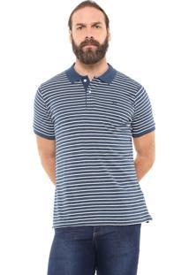 Camisa Polo Yachtsman Reta Listrada Azul/Off-White