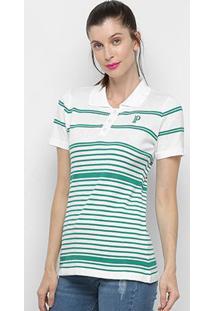 Camisa Polo Palmeiras Listras Feminina - Feminino
