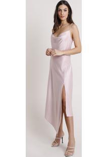 Vestido Slip Dress Feminino Mindset Assimétrico Acetinado Com Fenda Alça Fina Rosê