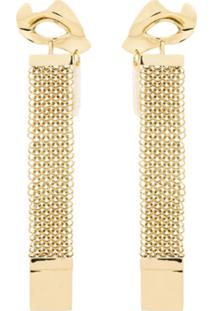 Ellery Gold Broken Eye Drop Chain Earrings - Dourado