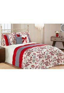 Edredom Vitória Queen Vermelho Com Porta Travesseiro Com 7 Peças - Aquarela
