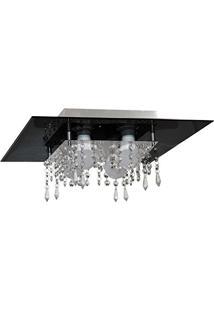 Plafon De Vidro Com Cristal Para 04 Lâmpadas - Aceita Lâmpadas De Led - Preto