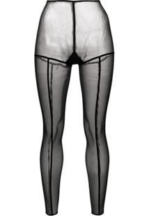 Ann Demeulemeester Legging Translúcida - Preto