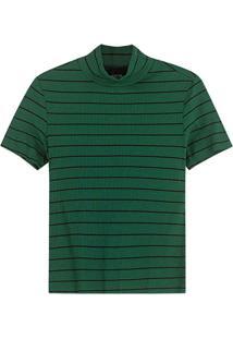 Blusa Verde Canelada Listrada