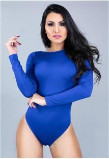 Body Manga Longa Mvb Modas Costa Nua Feminino - Feminino-Azul