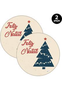Capa Para Sousplat Mdecore Natal Feliz Natal Bege 2Pçs