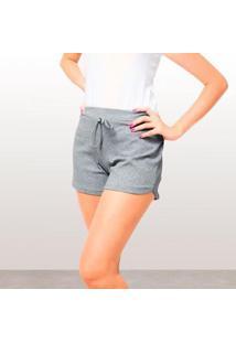 Shorts Canelado Fashion Feminino - Feminino-Cinza