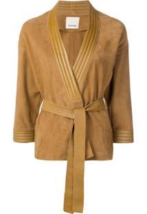 Pinko Belted Leather Jacket - Marrom