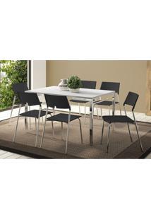 Conjunto Mesa 1526 Branca Com 6 Cadeiras 1711 Cromada/Preta Carraro