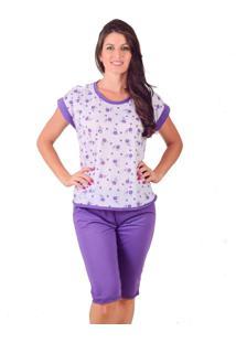 Pijama Pescador Vip Lingerie Malha - Roxo