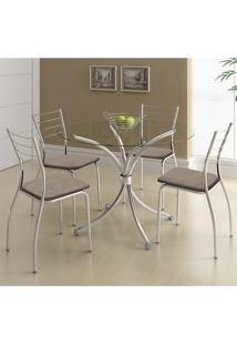 Mesa 375 Vidro Incolor Cromada Com 4 Cadeiras 1700 Camurça Conhaque Carraro
