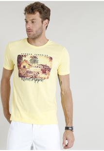 """Camiseta Masculina """"Summer Paradise"""" Manga Curta Gola Careca Amarela"""