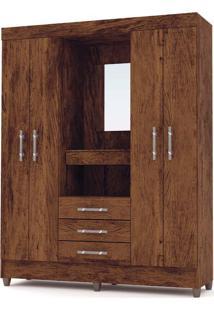 Guarda-Roupa Casal Capelinha Fortaleza Imbuia/Rústico 4 Portas 4 Gavetas E Espelho - Vila Rica
