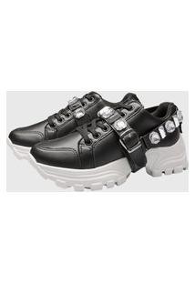 Tênis Sneaker Gommix Dv Pedraria Preto