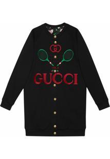 Gucci Cardigan Oversized Dupla-Face - Preto