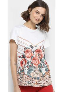 aec6243ef8 ... Blusa Lança Perfume Estampada Floral Manga Curta -  Feminino-Marrom+Branco