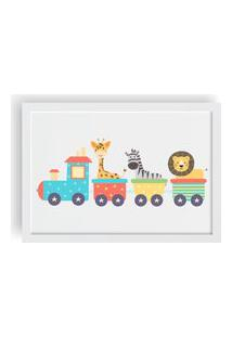 Quadro Love Decor Decorativo Infantil Trenzinho Com Animais