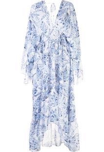 Misa Los Angeles Vestido Longo Com Estampa Floral - Azul