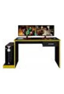 Mesa Gamer Drx-8000 Preto E Amarelo - D'Rossi