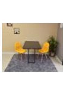 Conjunto De Mesa 120 X 75 Preta + 2 Cadeiras Botonê - Amarela