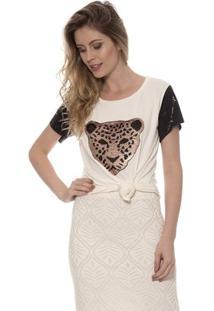 Blusa Bisô T-Shirt Tigre Feminino - Feminino-Creme