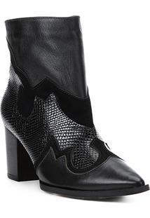 Bota Cano Curto Shoestock Western Couro Feminina - Feminino-Preto