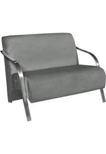 Poltrona Namoradeira Vênus Suede Braço Aluminio -Cinza