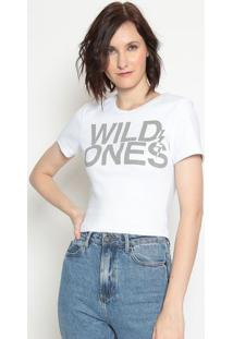 Blusa Mescla ''Wild One'S''- Branca Cinza- Zoompzoomp