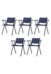 Kit 5 Cadeiras Up Com Bracos Assento Azul Base Fixa Preta - 57806 Azul